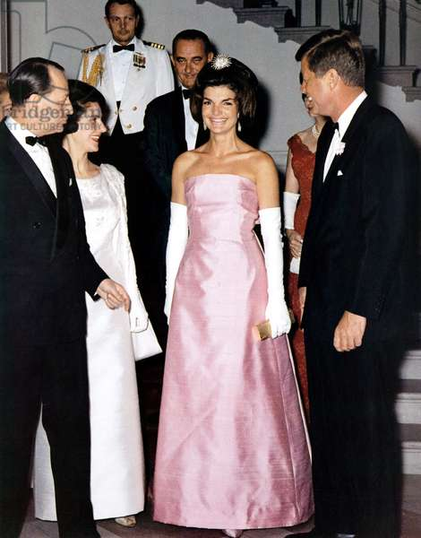 French minister of culture Andre Malraux with his wife Madeleine received at the White House in Washington by american vice-president Lyndon Johnson and americain president John Kennedy and his wife Jackie, may 11, 1962 (Jackie wearing dress by creator Duvier for Christian Dior created in 1962)