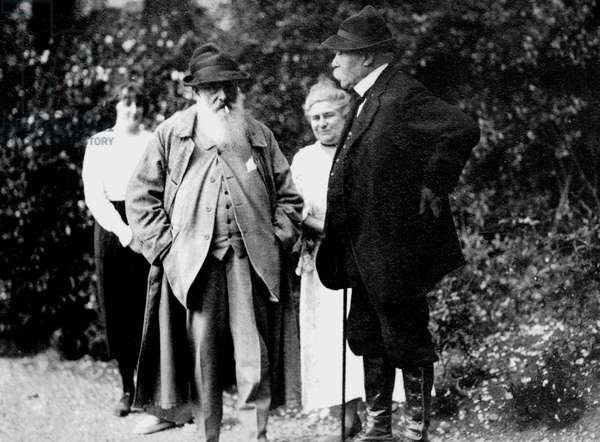 Claude Monet and his daughter Blanche Hoschede with Georges Clemenceau in Giverny c. 1921