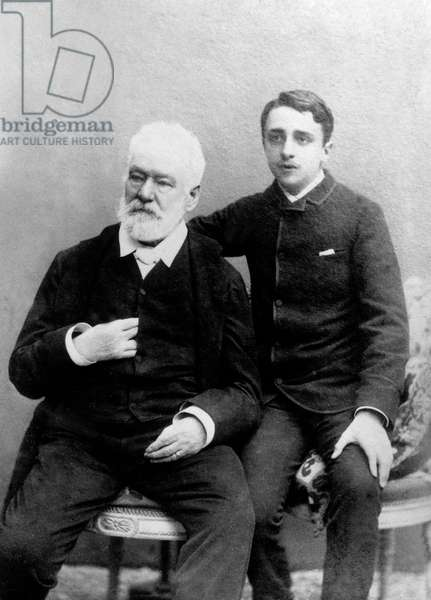 french author Victor Hugo with his grandson Georges (1868-1925) c. 1883