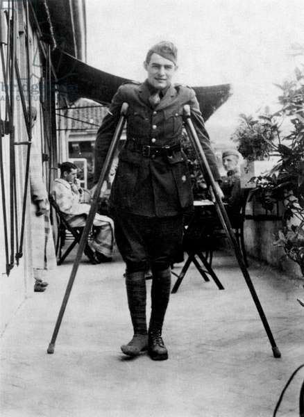 Ernest Hemingway (1899-1961) american novelist here during his convalescence in Milan, Italy (American Red Cross Hospital) in 1918