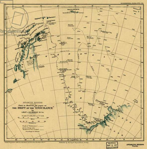 Endurance Expedition (polar expedition led by Ernest Shackleton to the South Pole, Antarctica, 1914-1917): map of Antarctica with the Endurance route in the Weddell Sea by the Lieut. JM Wordie