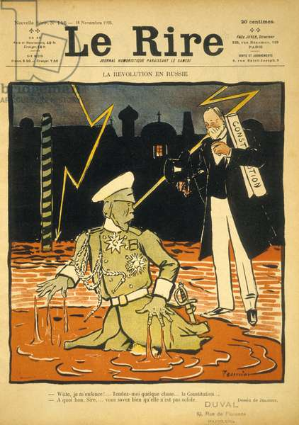 "Frontpage of french satirical paper ""Le Rire"" november 18, 1905: illustration by Jeanniot about russian revolution and fragility of constitution"