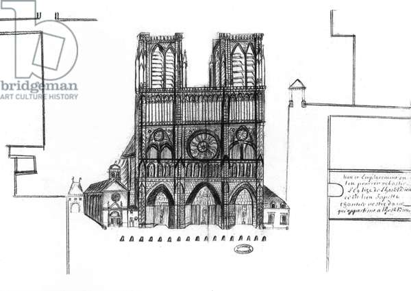 18th century drawing of the front of Notre Dame cathedral in Paris