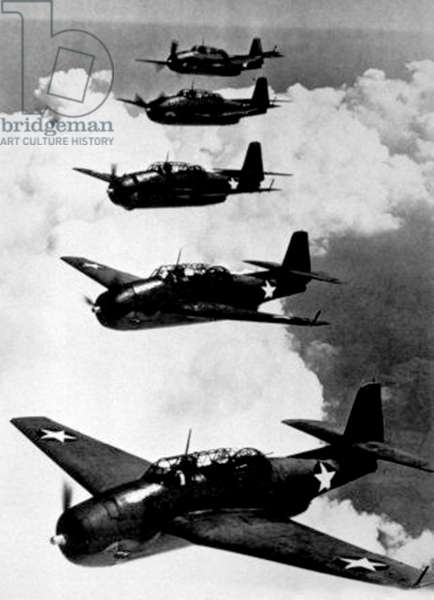 American Navy Avenger planes, torpedo-bombers that have helped in the Pacific c. 1943 (the same kind of planes which disappeared in the Bermuda triangle)