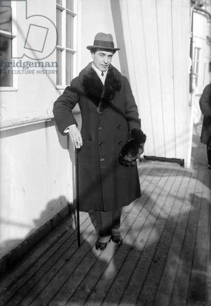 Benno Moiseiwitsch (1890-1963) english pianist ukrainian born, here aboard a liner c. 1920