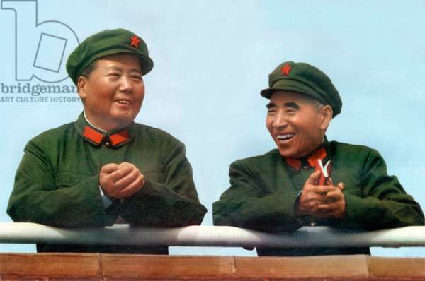 Mao Tse Toung (1893-1976) chinese president here during review of army of The Great Proletarian Cultural Revolution in Pekin, november 3, 1967 with Lin Piao