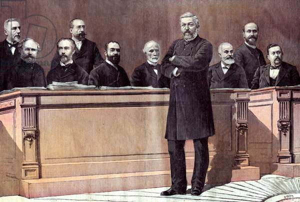 Opening of parliamentary session in Paris: the ministers (l-r) Mr Barbey, Alexandre Ribot, Jules Roche, Maurice Rouvier, Leon Bourgeois, Charles de Freycinet, Ernest Constans, Yves Guyot, Jules Develle, Armand Fallieres , lastpage of newspaper Petit Journal october 31, 1891