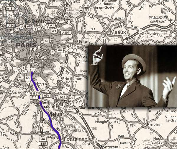 French singer Charles Trenet and roadmap of The Route nationale 7 (RN 7) from Paris to south of France (in 1955 Charles Trenet sang about this road, the road to holidays)
