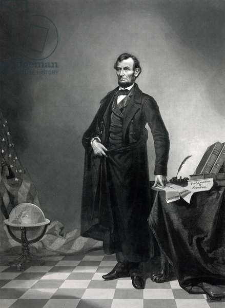 Abraham Lincoln (1809-1865) 16th american president in 1861-1865, standing by the Emancipation Proclamation and the constitution