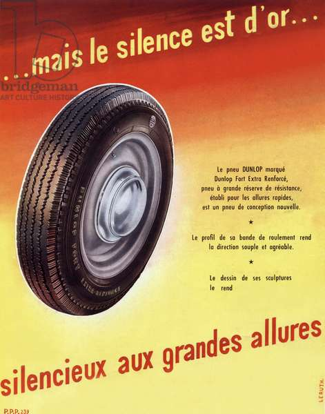French advertisement for Dunlop tyre, 1950
