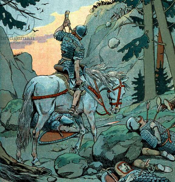 In deadly peril from a Sarcen attack at Roncesvalles, Roland blows the horn given to him by -Charlemagne to summon aid, illustration by Job, 1930