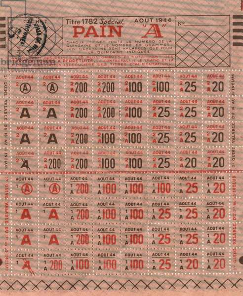 French ration stamps '1782' for bread, august 1944