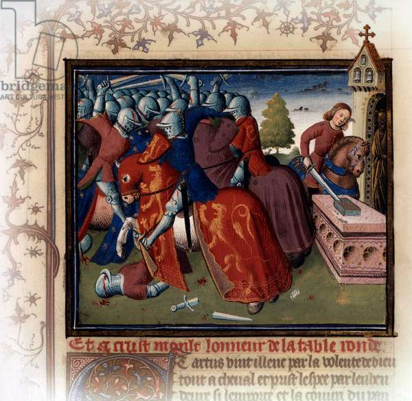 """Arthurian legend (quest for the Holy Grail): young Arthur removing the sword Excalibur from the anvil, illumination by the """"Maitre des Cleres Femmes"""" from """"Histoire de Merlin"""", 15th century"""