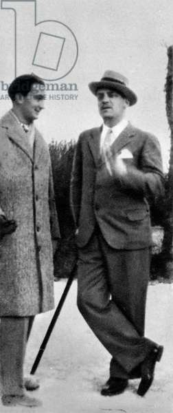 Spanish painter Salvador Dali (1904-1989) and Luis Bunuel in Spain in 1928