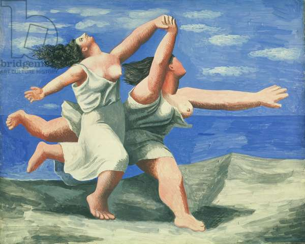 Two Women Running on the Beach or The Race, 1922 (gouache on plywood)
