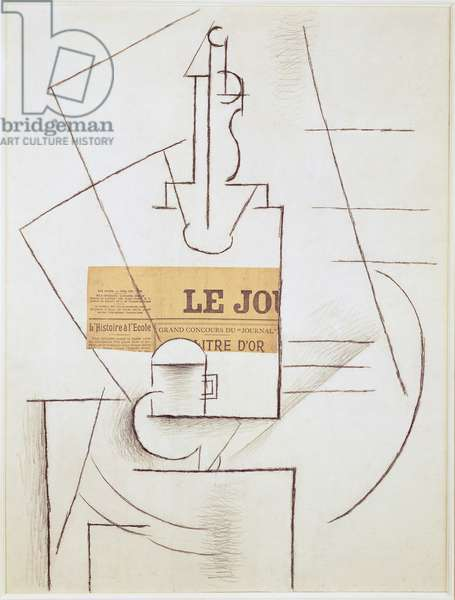 Bottle, Cup and Newspaper, 1912-13 (chalk and collage on paper)