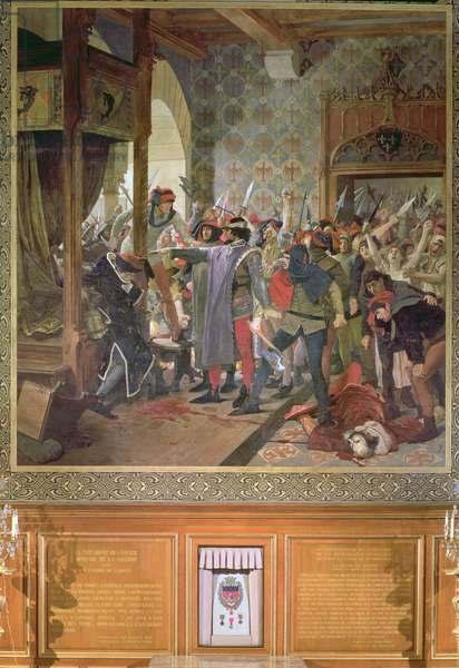 Etienne Marcel (d.1358) protecting the Dauphin from the Mob in 1358