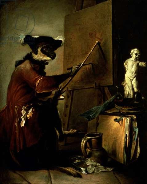 The Monkey Painter, 1740 (oil on canvas)
