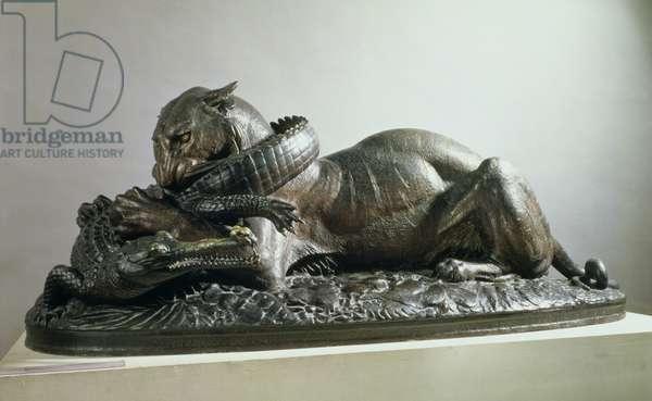 Tiger devouring an alligator, 1832 (bronze)