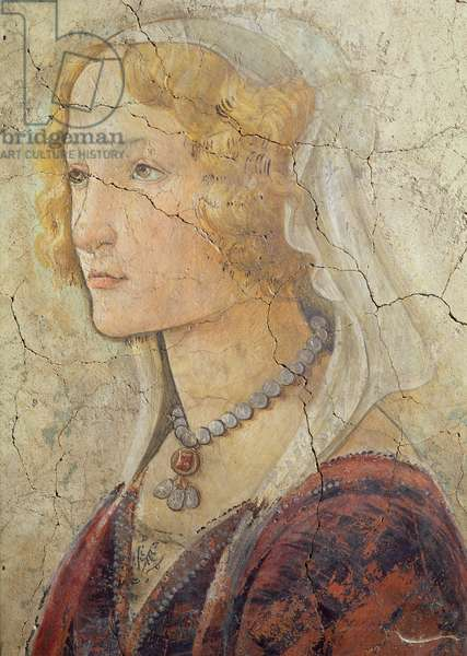 Venus and the Three Graces Offering Gifts to a Girl, detail of the girl's head, 1486 (fresco) (detail from 33760) (see also 93892-93894)