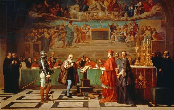 Galileo Galilei (1564-1642) before members of the Holy Office in the Vatican in 1633, 1847