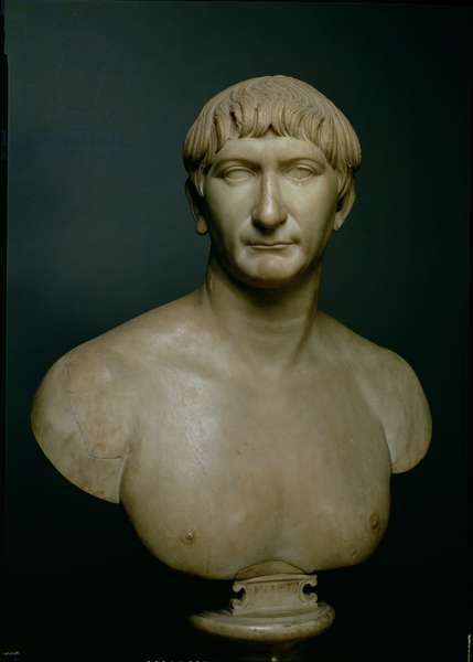 Portrait bust of emperor Trajan (53-117 AD) 1st-2nd century AD (marble)