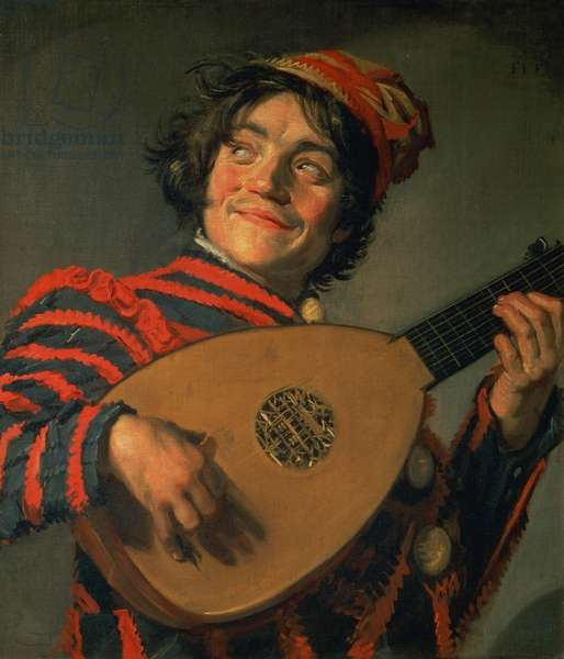 Portrait of a Jester with a Lute (oil on canvas)