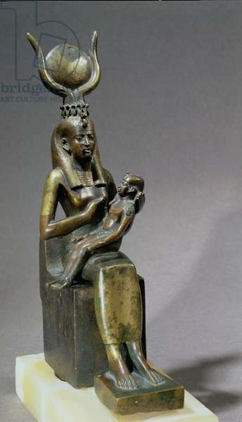 Statuette of the goddess Isis and the child Horus (bronze encrusted with gold)