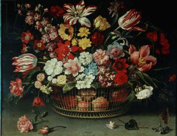 A Basket of Flowers (oil on canvas)