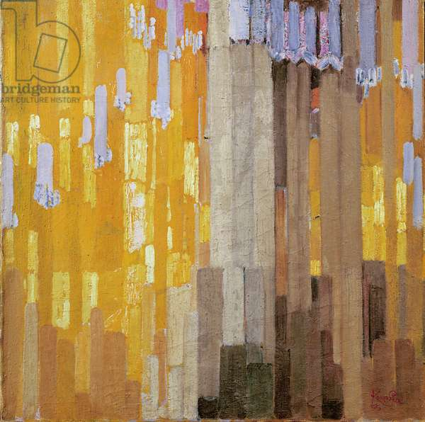 Arrangement of Yellow and Grey Vertical Lines, 1913 (oil on canvas)