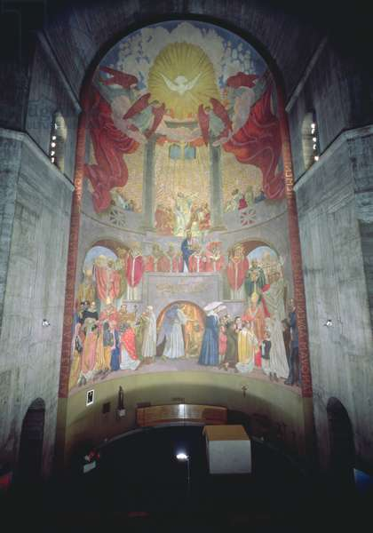 Pentecost, from the apse of the church, 1934 (see details 252658 and 252659) (fresco)