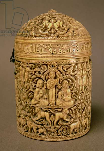 Pyx with relief depicting the pleasures of courtly life, inscribed with the name Al-Mughira, son of the caliph Abd-al-Rahman III, Islamic, Umayyad period, from Cordoba, 968 AD (ivory) (see laso 157915)