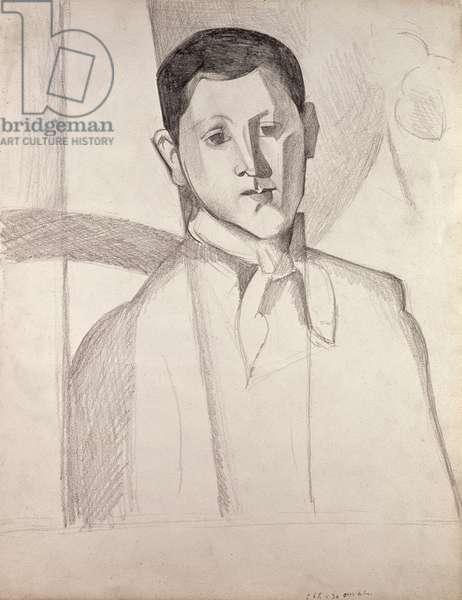 Portrait after Cezanne (crayon on paper)