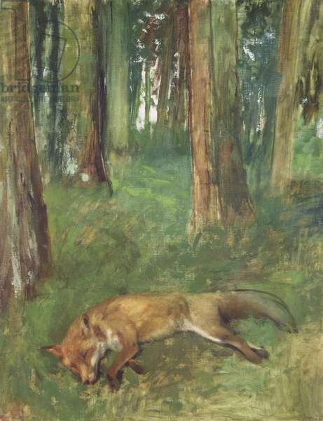 Dead fox lying in the Undergrowth, 1865 (oil on canvas)