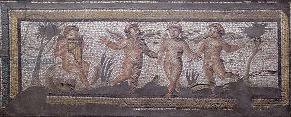 Three dancing putti accompanied by one playing the pan pipes, border detail from a mosaic pavement depicting the seasons and hunting scenes from the Constantinian Villa at Daphne, Roman, c.325-330 AD (marble, limestone and glass mosaic)
