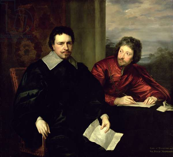Portrait of Thomas Wentworth, Earl of Strafford (1593-1641) and his Secretary, Sir Philip Mainwaring (1589-1661) c.1634 (oil on canvas)