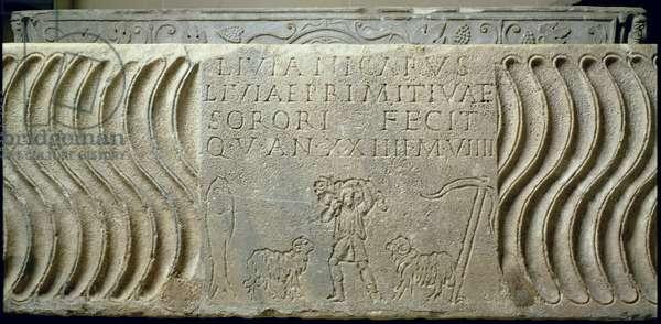 Christian Sarcophagus of Livia Primitiva, Roman (basalt)