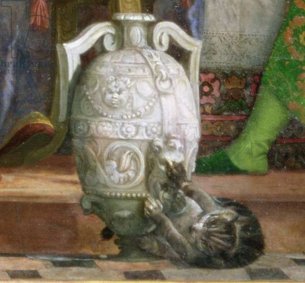 Cat and vase, detail from 'The Marriage Feast at Cana', c.1562 (oil on canvas) (detail of 94932)