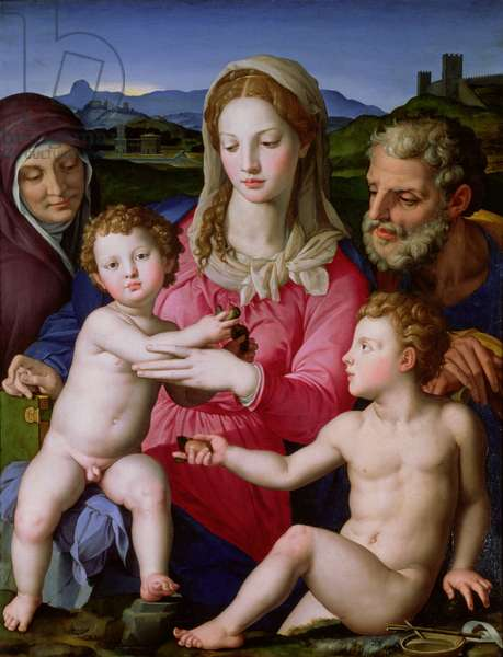 Holy Family with St. Anne and the infant St. John the Baptist, c.1550 (oil on panel)