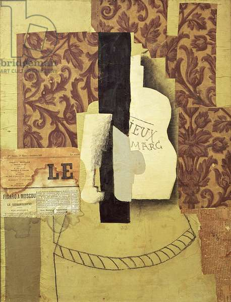 Still Life with Bottle and Glass or Le Vieux Marc (paper cut-out, wallpaper, newspaper and charcoal on paper)