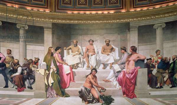 Hemicycle: Artists of All Ages, detail of Ictinus, Apelles and Phidias, 1836-41 (fresco) (see also 83553 and 83555)