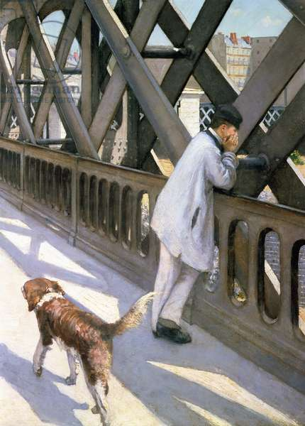 Le Pont de L'Europe: detail of a resting man and a dog, 1876 (detail of 50110)