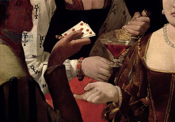 The Cheat with the Ace of Diamonds, detail of the players, c.1635-40 (oil on canvas) (detail of 90053)