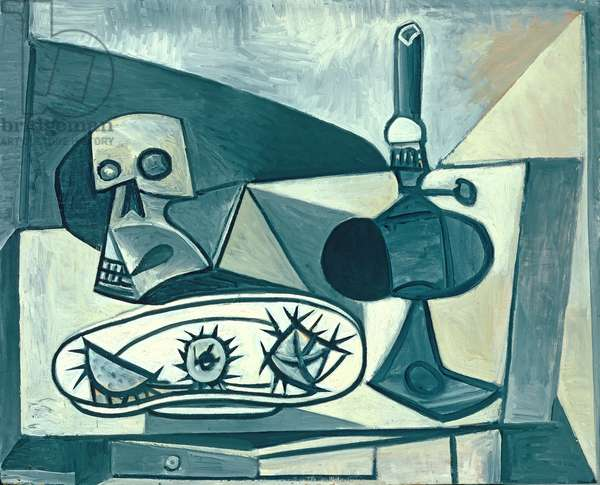 Skull, Sea-Urchins and Lamp on a Table, 1946 (oil on plywood)