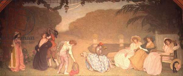 Young Girls Watching an Open Air Theatre, 1909 (oil on canvas)
