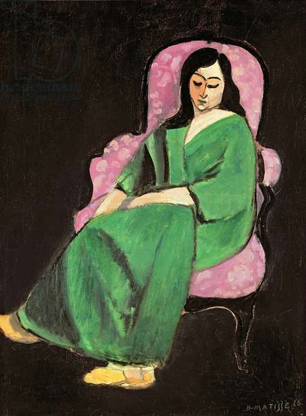Lorette in a Green Robe against a Black Background, 1916 (oil on canvas)