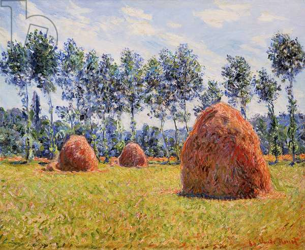 Haystacks at Giverny, 1884 (oil on canvas)