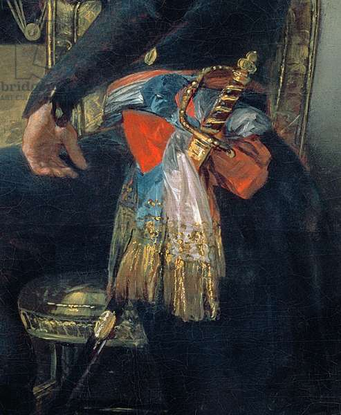 Portrait of Ferdinand Guillemardet, detail of sword and sash, 1798-99 (oil on canvas) (detail of 83585)
