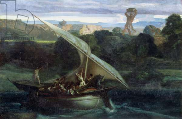 Polyphemus attacking sailors in their boat, 1855 (oil on canvas)