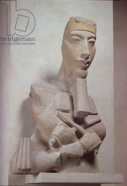 Osirid pillar of Akhenaten (1365-1349 BC) from the sun temple of Amenophis IV at Karnak, New Kingdom, c.1350 BC (terracotta)